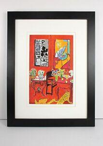 "Stunning MATISSE 1948 Antique Print ""Le grand Interieur Rouge"" Framed Signed COA"