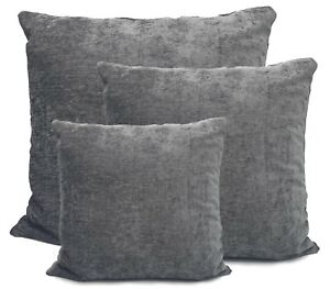 Large Cushions Chenille Scatter Cushions or Covers Plain SILVER