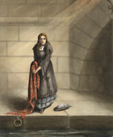 G.P., Hesitation: Woman in Mourning – Original c.1880s watercolour painting