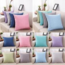 Solid color Cotton Linen Pillow Case Sofa Waist Throw Cushion Cover Home Decors