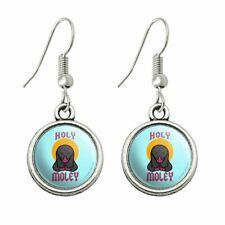 Novelty Dangling Drop Charm Earrings Holy Moley Religious Mole Funny Humor