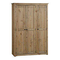 Solid Pine Contemporary 3 Door Wardrobe Natural Wax -Solid Wood -Quick Delivery