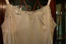 Vintage Full Slip 1990's Plus Size 42 Glossy Pearly Iridescent White Art Nouveau