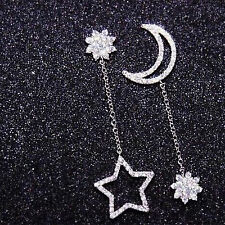 Women Girls Cute Silver/Gold Star and Moon Ear Stud Earrings Dangle Fashion