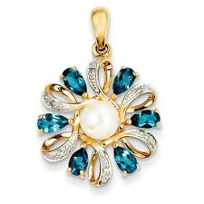 14k 0.02ct Yellow Gold Diamond FWC Pearl London Blue Topaz Pendant (1INx0.7IN)