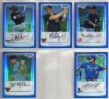 2011 Bowman Chrome 5-card BLUE BORDERED REFRACTOR Baseball Lot #/250