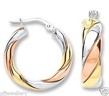 9CT ROSE & YELLOW GOLD AND RHODIUM PLATED 925 SILVER ROUND TWIST HOOP EARRINGS