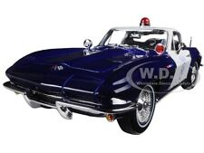 1965 CHEVROLET CORVETTE BLUE/WHITE POLICE 1:18 DIECAST MODEL CAR BY MAISTO 31381