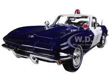 1965 CHEVROLET CORVETTE BLUE/WHITE POLICE 1:18 DIECAST MODEL CAR BY MAISTO 31381