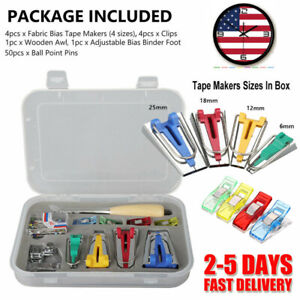 Bias Tape Maker Kit,13 Pack Bias Tape Double Fold Mulit-Function Bias Tape Makers with Adjustable Bias Binder Foot,Awl,Ball Pins,Scissor,Cloth Clip for Sewing Quilting DIY Cloth