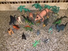 Lot of 25 Vintage Misc Hard Plastic Toy Dinosaur Figures various sizes #0795