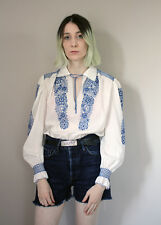Vintage 1970's Embroidered White & Blue Peasant Blouse  - 8 10 12 s m