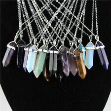 Natural Quartz Crystal Stone Point Chakra Healing Gemstone Mix Pendant Necklace