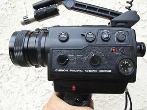Super 8 Chinon Pacific 12 SMR Sound 8mm Movie Cine Camera / Manual / Case