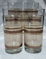 "Set of 8 VTG Libbey Brown Gold Tan MidCentury Modern Retro Glass 5"" Tumblers"