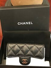 AUTHENTIC CHANEL CC BLACK CAVIAR FLAP SNAP CARD HOLDER WALLET NIB - ITALY