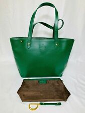 RALPH LAUREN GREEN LEATHER TOTE BAG EXCELLENT CONDITION