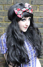 RED ROSE BIG BOW HAIR FOREHEAD HEAD BAND HIPSTER INDIE GRUNGE FESTIVAL
