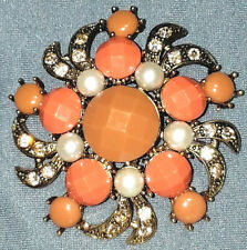 VINTAGE STUNNING CITRINE CRYSTAL FAUX PEARL LUCITE PRETTY FLOWER PIN BROOCH