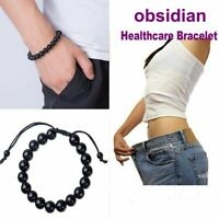 Black Stone Magnetic Bracelet Weight Loss Health Therapy Care Round Biomagnetism