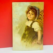 Postcard vintage post card ephemera Germany PCK series girl blue bonnet vtg mcm