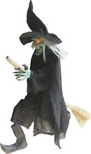 Halloween Animated Witch On A Broom with Sound Eyes Light Up Haunted House Prop