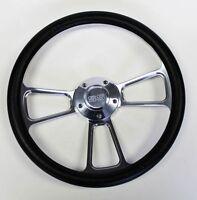 "Black & Billet Steering Wheel 14"" SS Center Cap Fits Ididit Flaming River Column"