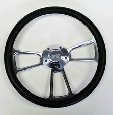 "Black & Billet Steering Wheel 14"" SS Center Cap Fits Ididit Flaming River Column"