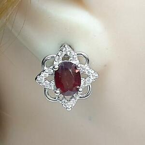 3.50ctw Mozambique Ruby & Diamond Cut White Sapphire 925 Silver Earrings 5.7g