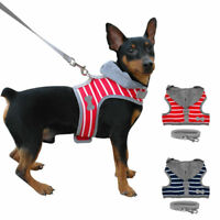 Stripe Pet Dog Harness Clothes with D Ring Soft Small Dog Hoodie Vest XS S M