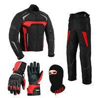 Motorbike Motorcycle Trouser Waterproof Riding Jacket Suit & Leather Gloves