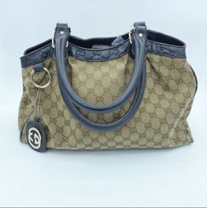 100% AUTHENTIC GUCCI GG SUKEY Brown Cream Canvas Handbag Purse Dust Bag & Manual