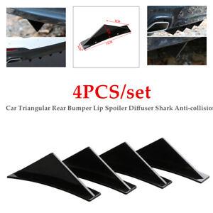 4PC Car Rear Bumper Lip Spoiler Diffuser Shark Anti-collision Trim Deflector Kit