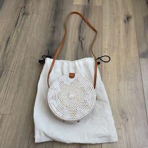 NEW Circle Straw Bag Small Natural White Cane Shoulder Purse