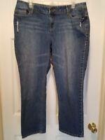 Simply Vera Wang Women's Size 14 distressed dark Denim straight leg Jeans GUC  *