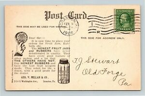 Scranton PA, HONEST FRUIT MASON JARS & RUBBERS Advertisement, Vintage Postcard