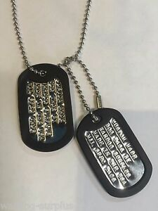 MILITARY PERSONALIZED DOG TAGS SET - CUSTOM WITH YOUR INFO - NECKLACE ID TAG US