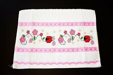 "CROSS STITCH FINGERTIP TOWEL ""LADYBUGS FLOWERS HEARTS"""