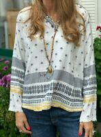 NWT Johnny Was Embroidered Palm Tree Gauze Cotton Tunic Blouse Top *Small*
