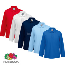 Fruit Of The Loom CHILDREN'S LONG SLEEVE POLO SHIRT SMART COLLAR COLOURS KIDS