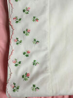VINTAGE White Cotton Rosebud Ditsy Roses Embroidered Border Flat Sheet 200X242cm