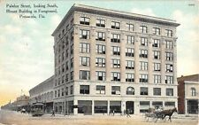 1910 Trolley & Blount Building Palafox St. looking South Pensacola FL post card