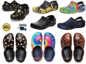Crocs Unisex Bistro Graphic Colors Clog Black Enclosed Toe Work Shoes Anti-Slip