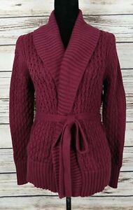 Banana Republic Womens Sz S Wrap Sweater Open Front Cardigan Chunky Knit Plum