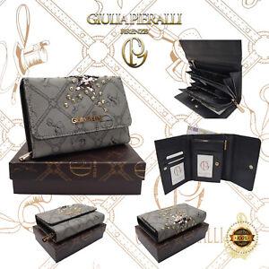 Damen XL Geldbörse Giulia Pieralli Design klein Portemonnaie Geldbeutel Grau