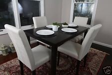 5pc Espresso Dining Room Kitchen Set Table 4 BEIGE Fabric Parson Chairs 5 piece