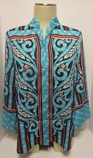 Bob Mackie Wearable Art Blouse  Button Up 3/4 Sleeves Size S 100% Polyester