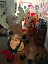 Santa on Sleigh with 3 Reindeer and Christmas Tree Inflatable Decoration 8' Long