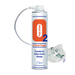 Oxygen In A Can 10 Litres With Mask Hi Boost 10L Canned O2 Recreational Therapy