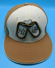 NEW YORK YANKEES brown / white fitted cap / hat - size 7 3/8 - L - dog tags